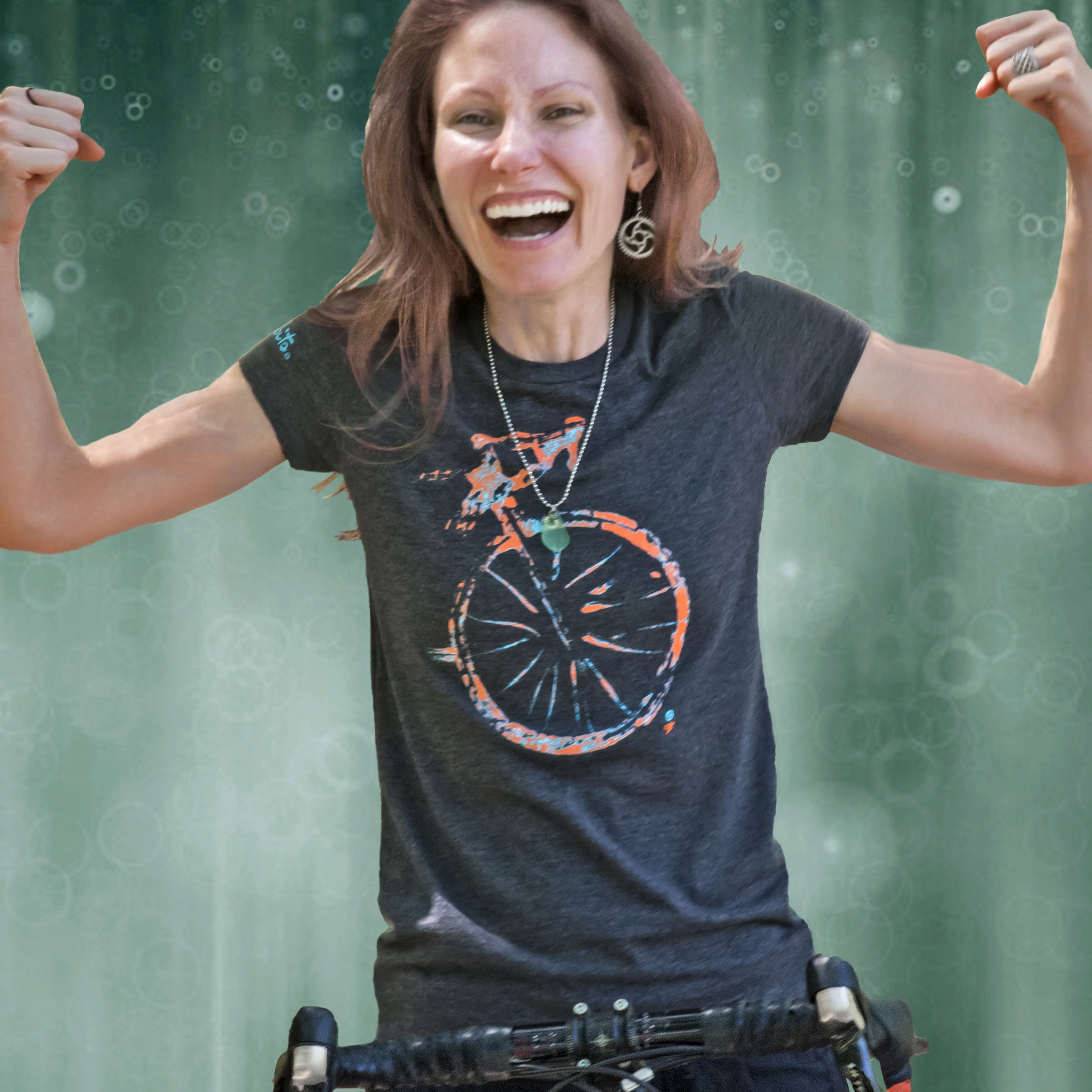 Women's Road Bike Riders Artist Tee - Dark Heather Grey by bici bits