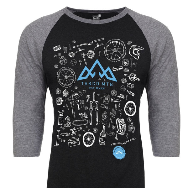 TASCO RAD SERIES - BIKE BITS PREMIUM RAGLAN TEE  (UNISEX) - CHARCOAL by Tasco MTB