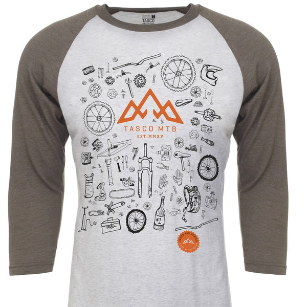 TASCO RAD SERIES / BIKE BITS PREMIUM RAGLAN TEE - (UNISEX) - WHITE by Tasco MTB