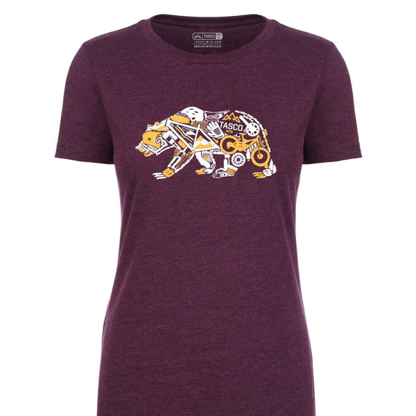 Gear Bear T-shirt Ladies - Plum by Tasco MTB