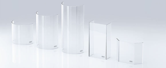 Shaped, concave and arched glass for log burning stoves