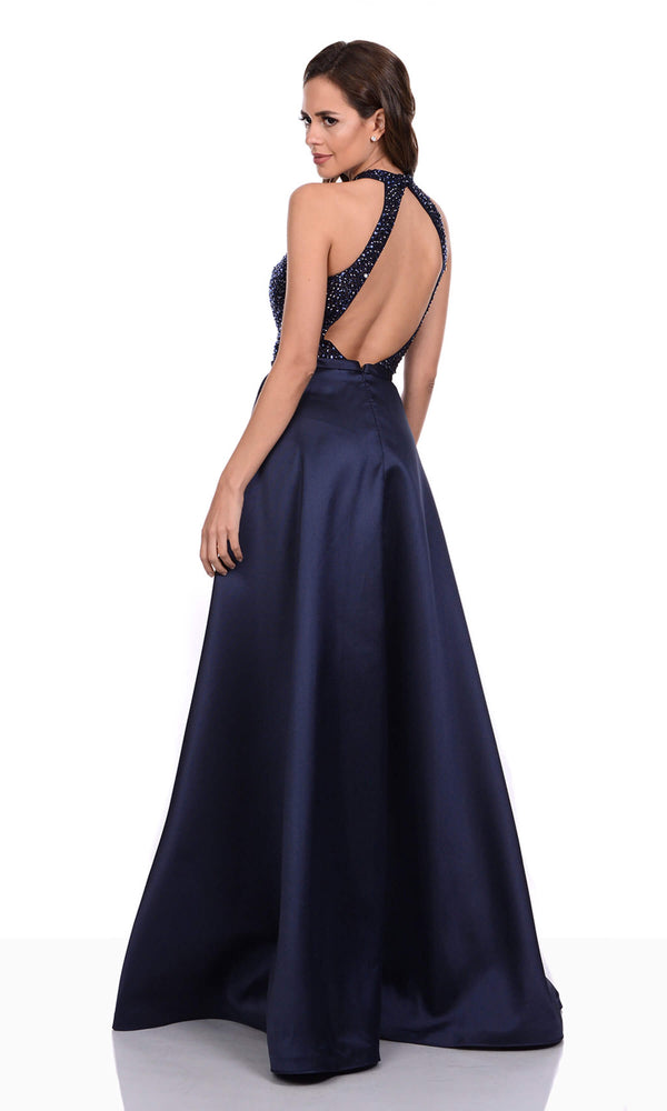 0275 Navy Christian Koehlert Halterneck Evening Dress