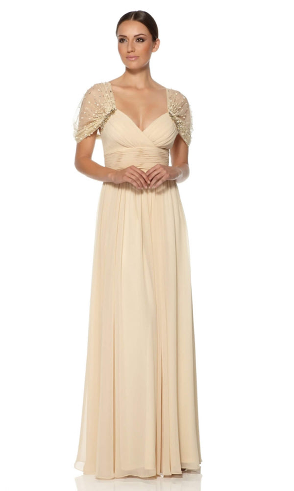 1012212 Champagne Dynasty Evening Dress & Chiffon Sleeves - Fab Frocks
