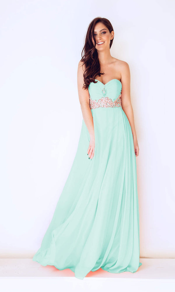 1022431 Mint Green Dynasty Strapless Evening Gown - Fab Frocks