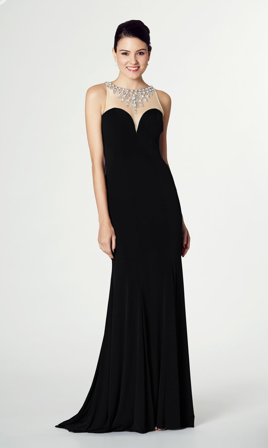 Naomi* Black Tiffanys Sweetheart Neckline Evening Dress - Fab Frocks