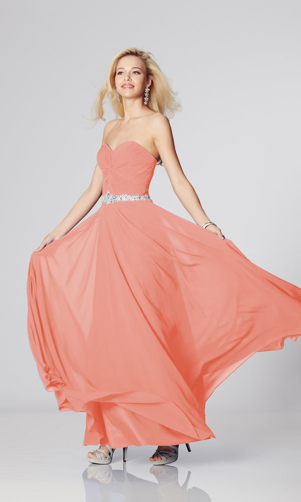 Amanda* Coral Tiffanys Strapless Evening Prom Dress - Fab Frocks