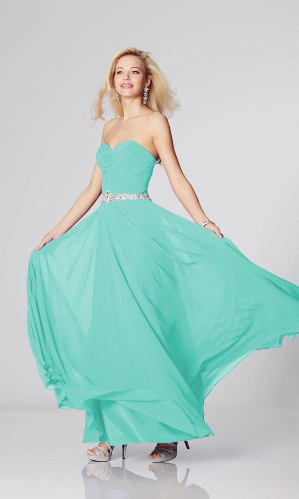 Amanda* Mint Tiffanys Strapless Floaty Evening Prom Dress - Fab Frocks