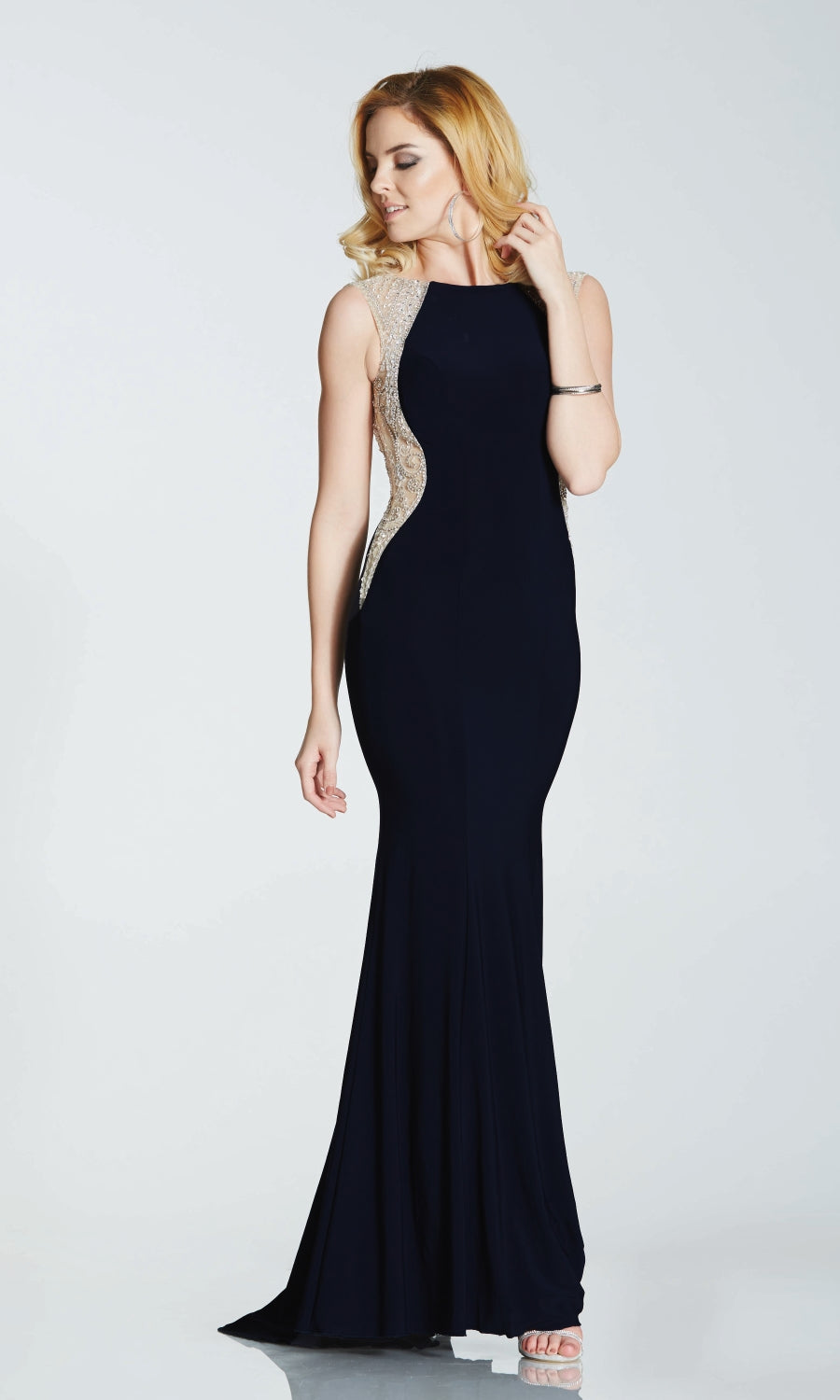 Mila* Black Tiffanys Evening Dress With Sparkle Side Panels - Fab Frocks