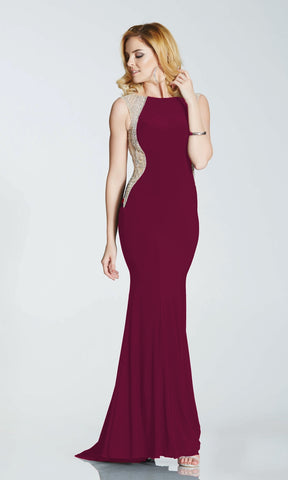 Mila* Wine Tiffanys Evening Prom Dress With Nude Panels - Fab Frocks
