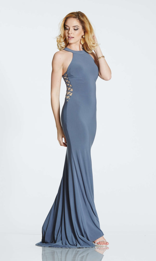 Tiffanys Illusion Skyler* Charcoal Evening Prom Dress - Fab Frocks