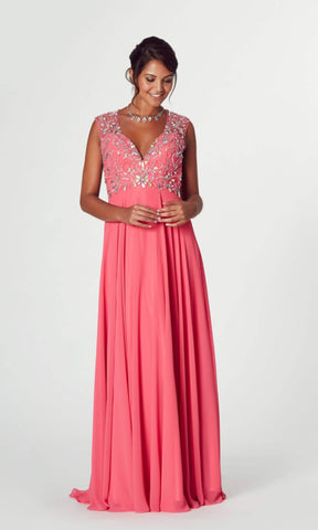 Mckenzie* Coral Tiffanys Illusion Evening Prom Dress - Fab Frocks
