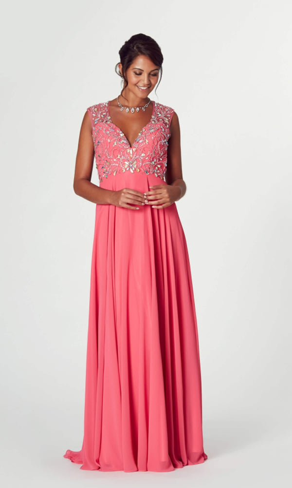 Mckenzie* Coral Tiffanys Illusion Evening Prom Dress