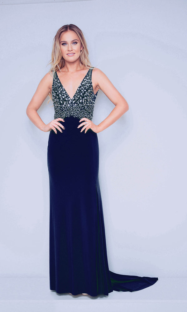 1012405 Navy Silver Dynasty V Neck Red Carpet Dress - Fab Frocks