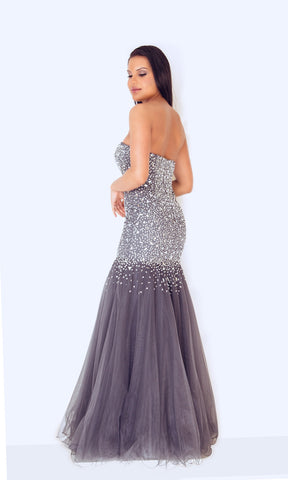 1012458 Pewter Dynasty Fishtail Beaded Evening Dress