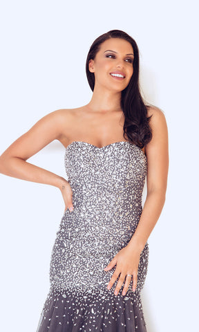 1012458 Pewter Dynasty Fishtail Beaded Evening Dress - Fab Frocks