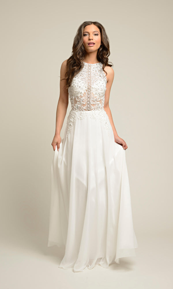 1012656 White Dynasty Evening Dress With Net Bodice - Fab Frocks
