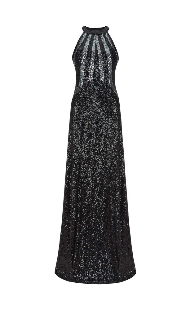 1012721 Black Gunmetal Dynasty High Neck Sequin Dress
