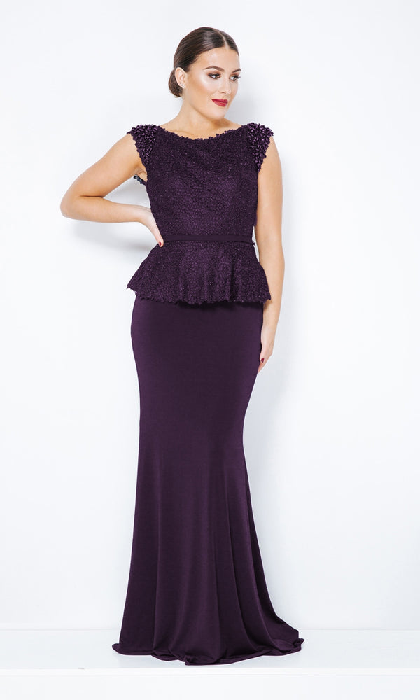 1012809 Nightshade Dynasty Peplum Evening Dress