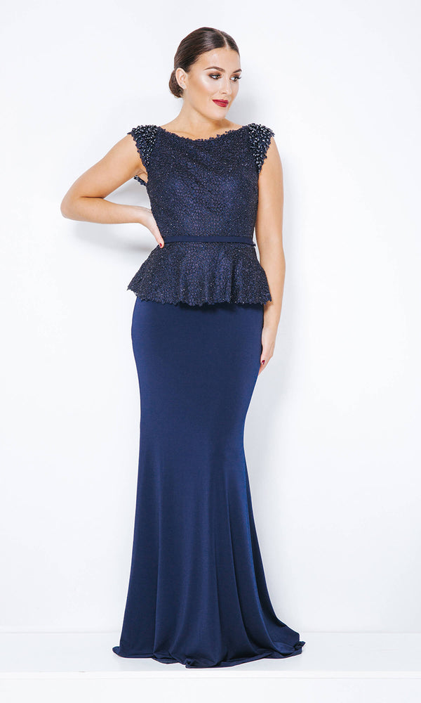 1012809 Navy Dynasty Peplum Fit And Flare Evening Dress