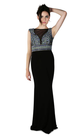 1012823 Black Dynasty Beaded Evening Gown Netted Neckline - Fab Frocks