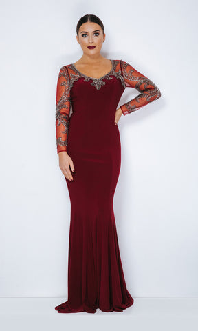 1013108 Burgundy Pewter Dynasty Evening Dress With Sleeve - Fab Frocks