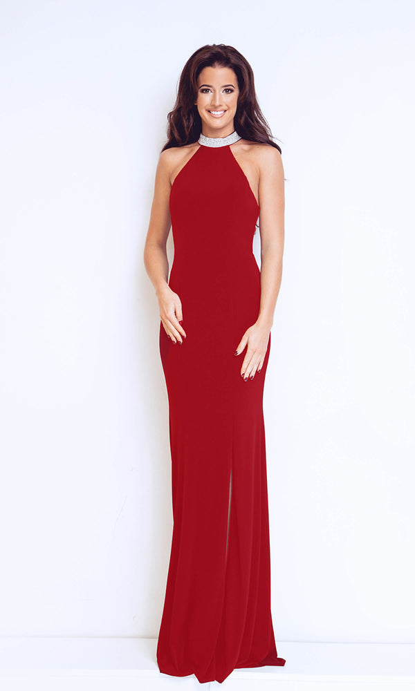 1013127 Cherry Red Dynasty Backless Diamante Evening Gown - Fab Frocks