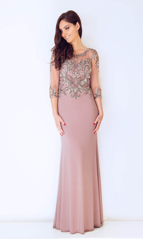 1013204 Beige Dynasty Beaded Evening Dress With Sleeves - Fab Frocks