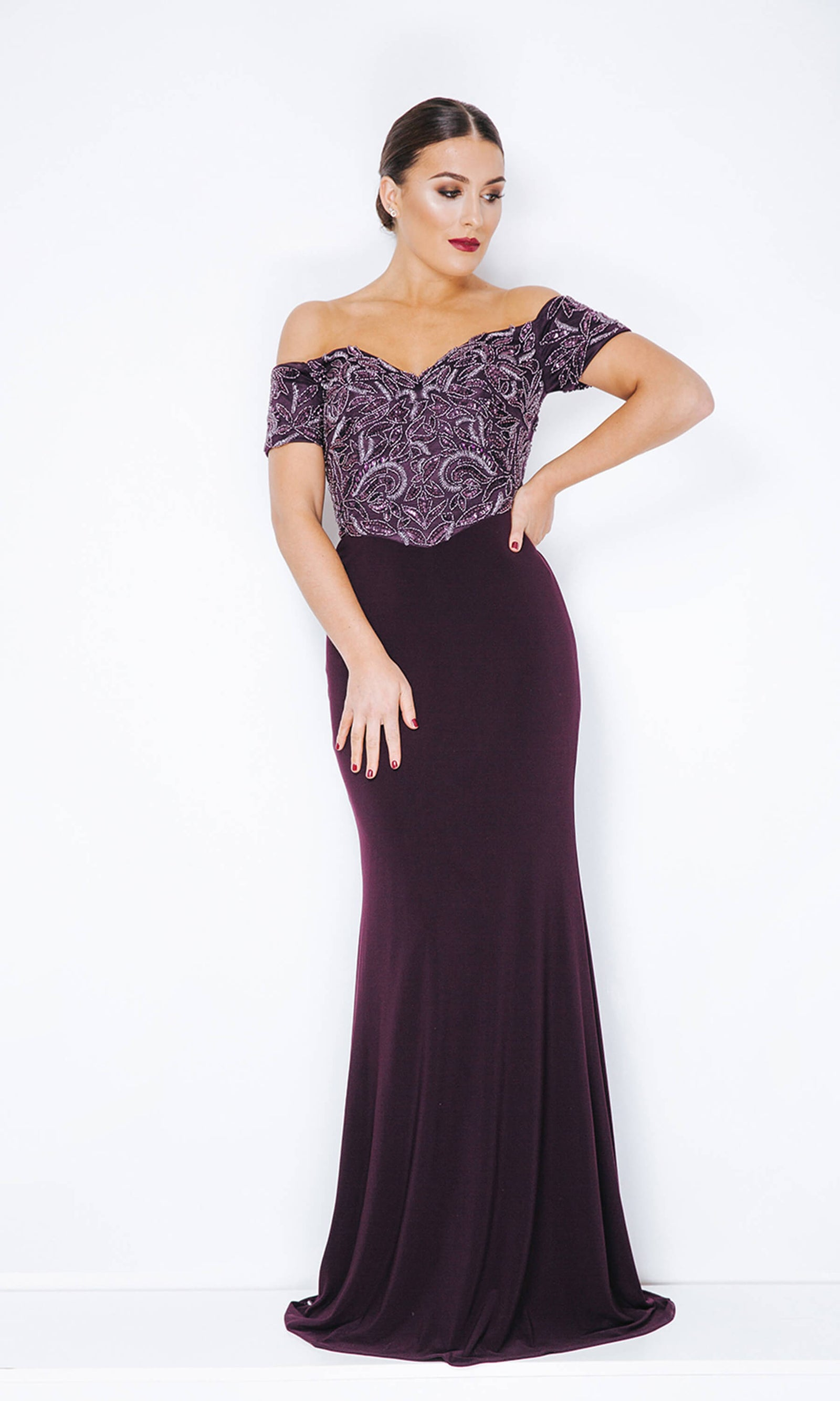 1013228 Nightshade Dynasty Bardot Neckline Evening Dress