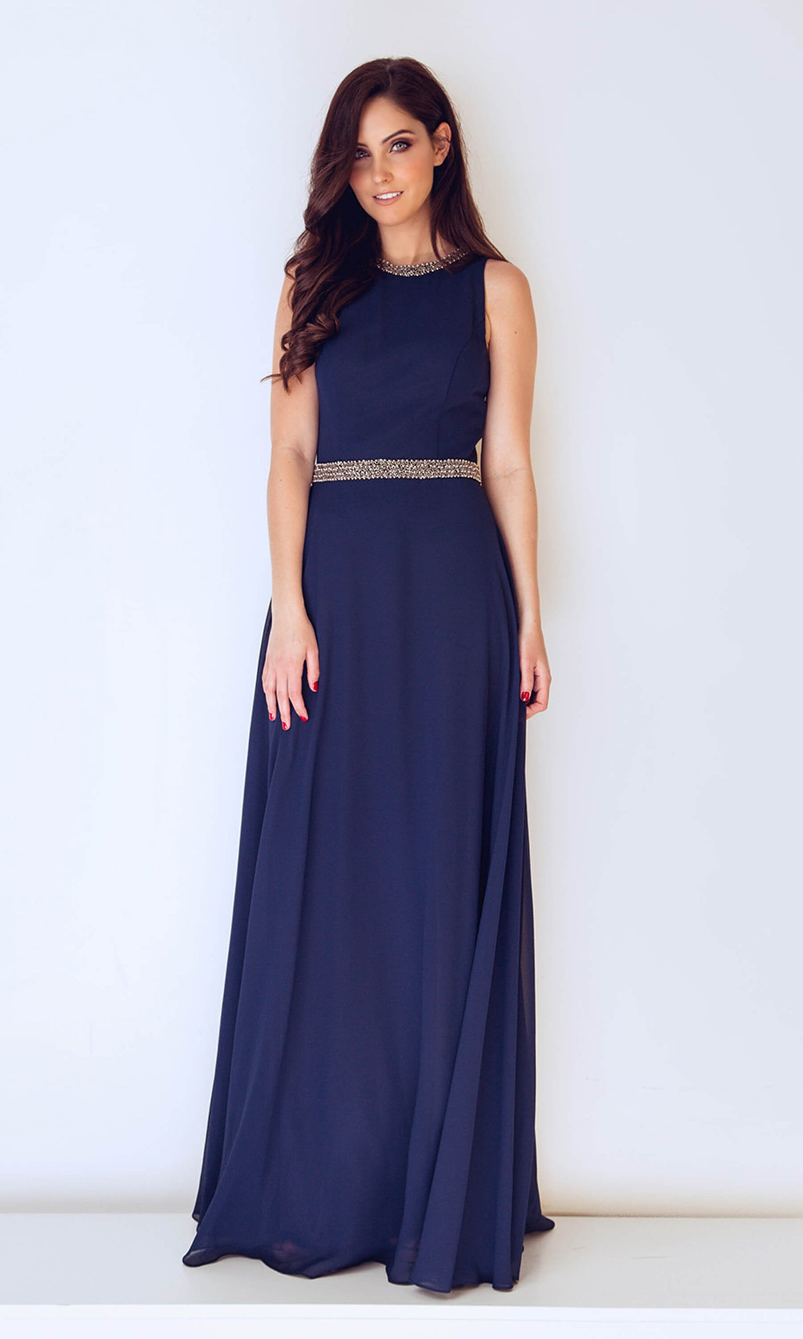 1013229 Navy Dynasty High Neckline Evening Dress - Fab Frocks