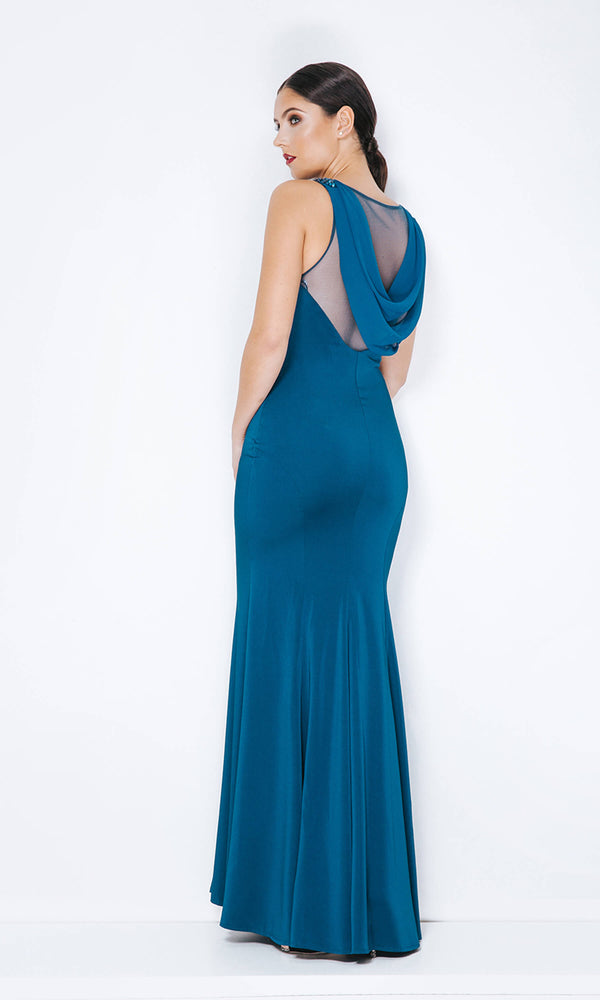 1013303 Teal Dynasty Cowl Back Evening Dress