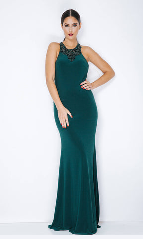 1013307 Hunter Green Dynasty Racer Back Evening Gown
