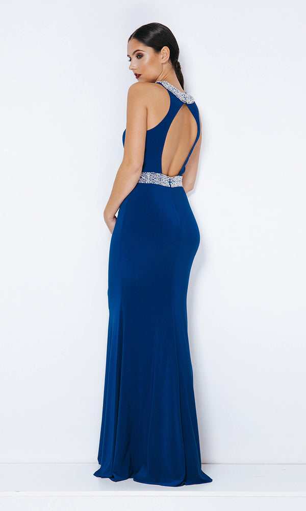 1013328 Royal Blue Dynasty Open Back Evening Dress - Fab Frocks