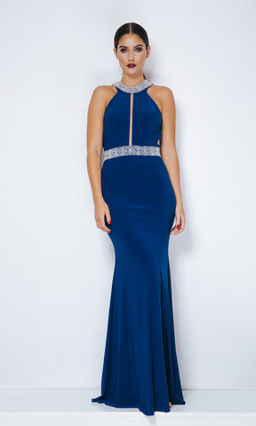 Dynasty London 1013328 Royal Blue Open Back Evening Dress