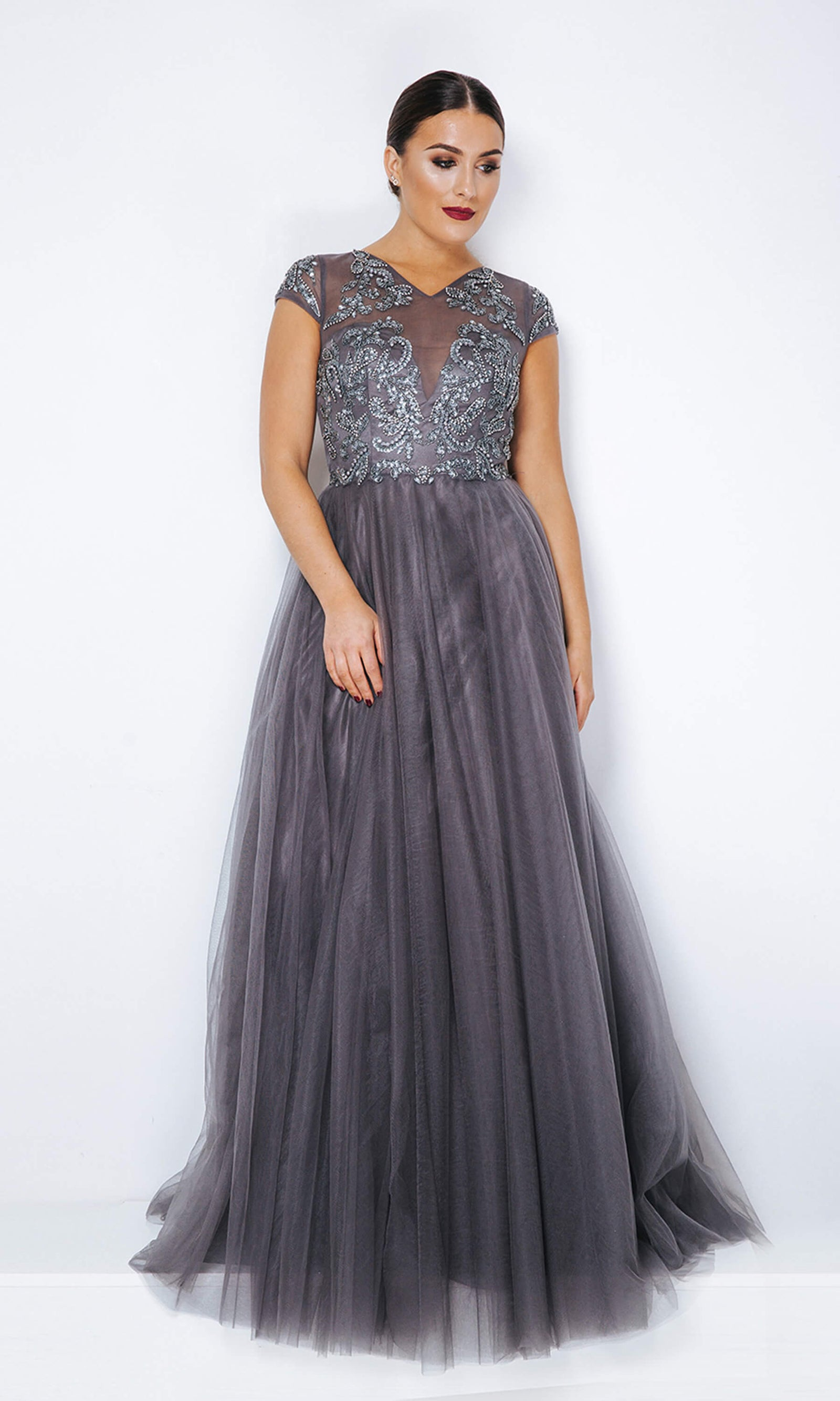 1013342 Pewter Dynasty Net Ballgown With Cap Sleeves