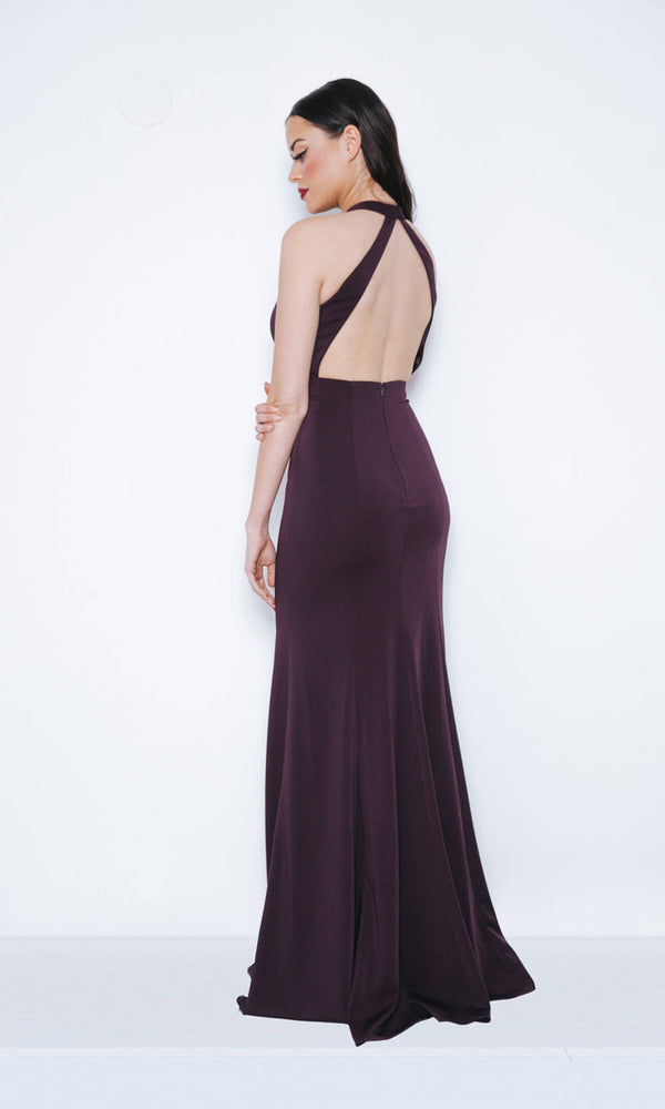 1013402 Nightshade Dynasty Plain Collar Neck Evening Dress