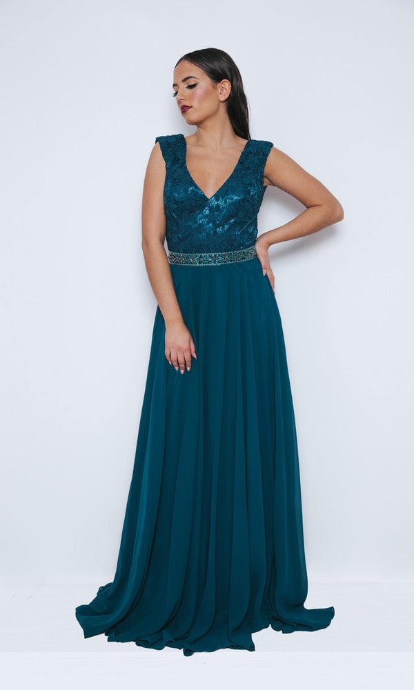 1013409 Midnight Teal Dynasty V Neck Evening Dress