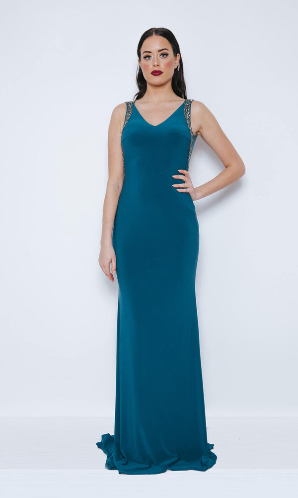 Dynasty London 1013410 Midnight Teal Backless Evening Dress