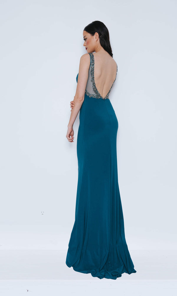 Dynasty London 1013410 Midnight Teal Backless Evening Dress Back