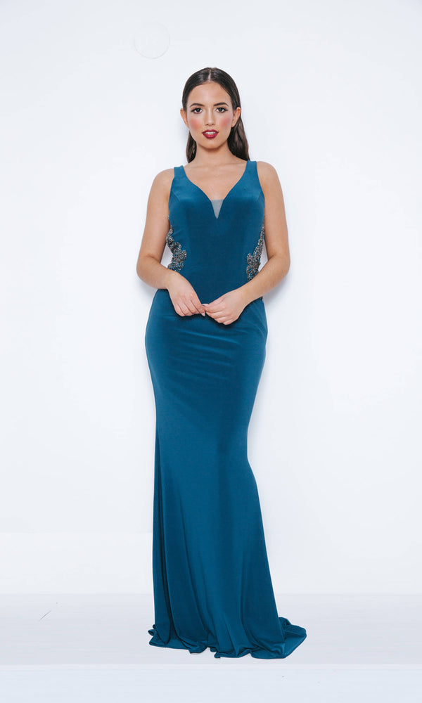 1013411 Midnight Teal Dynasty Keyhole Back Fishtail Evening Dress