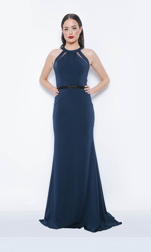 Dynasty London 1013418 Navy Long Simple Evening Prom Dress