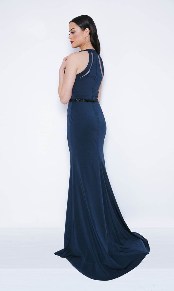 Dynasty London 1013418 Navy Long Simple Evening Prom Dress Back