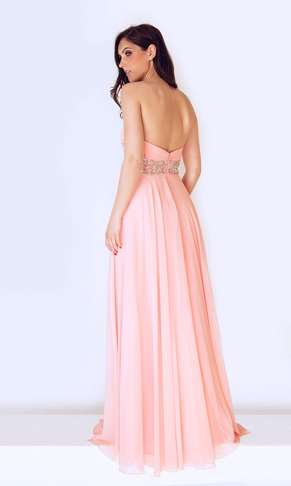1022431 Peach Dynasty Chiffon Strapless Evening Dress