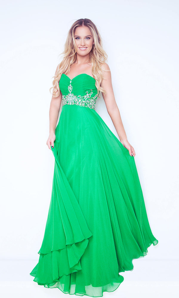 1022431 Emerald Dynasty Strapless Chiffon Evening Dress - Fab Frocks