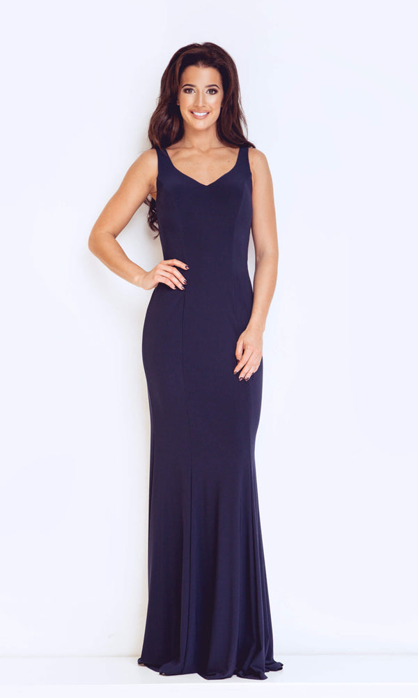 1023119 Navy Dynasty Jersey Evening Dress With Feature Back - Fab Frocks