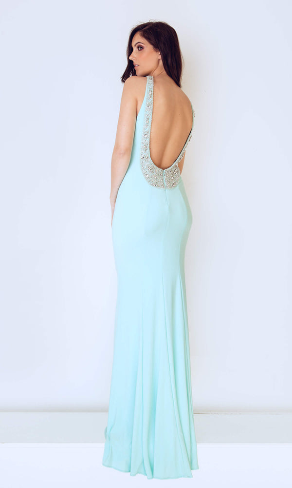 1023203 Duck Egg Dynasty Low Back Dress With Beading - Fab Frocks