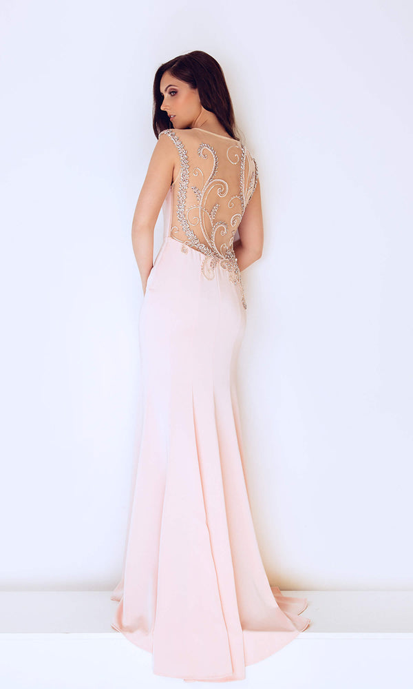 1023208 Blush Pink Dynasty Plunge Neckline Evening Dress - Fab Frocks