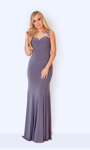 1023221 Pewter Dynasty Sweetheart Neckline Low Back Dress