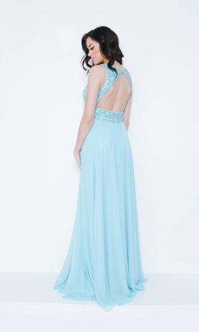 1023405 Light Tiffany Dynasty High Neck Beaded Evening Dress
