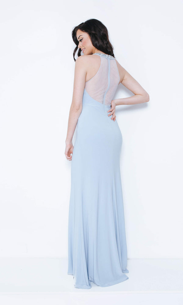 1023408 Ice Blue Dynasty High Neck Sheer Back Dress - Fab Frocks