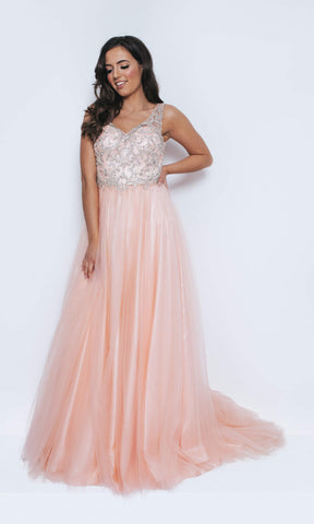 1023411 Blush Pink Dynasty Sweetheart Neckline Sheer Back Ballgown - Fab Frocks